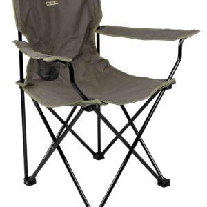 Lekkie krzesło składane z oparciem i podłokietnikami