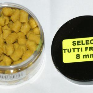 Pellet haczykowy typu SELECT. Do produkcji wykorzystano mączki proteinowe oraz betainę wzbogaconą o mieszankę aminokwasów. Gumowa struktura pozwala na zakładanie pelletu bezpośrednio na hak lub na włos/gumkę.
